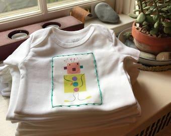 """Newborn, 3, 6 or 9 month onesie """"yellow robot"""""""