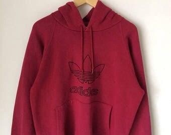 MEGA SALE Vintage Adidas Hoodie Sweatshirt Hip Hop Adidas Spellout Adidas Trefoil Big Logo