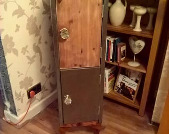 industrial design wooden and steel locker style storage cabinet