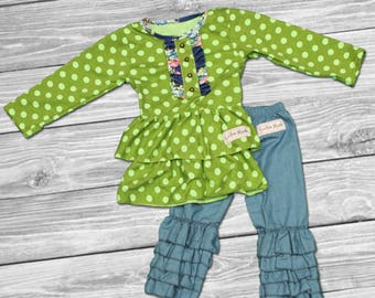 easter dress girls-girls ruffle outfit-baby ruffle outfit-girls Easter outfit-boutique outfit-fall Outfit-Green Polka Set