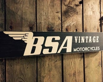 BSA vintage style wood sign motorcycle