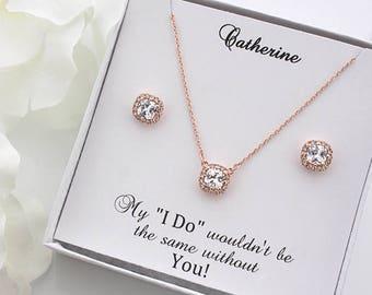 Julia - Rose Gold Wedding Jewelry Set, Bridal Earrings + Necklace, Crystal Cushion Earrings, Stud Earrings, Bridesmaid Gift Set