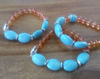 Orange bracelet, turquoise stone and glass bead