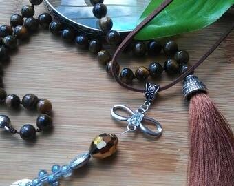 mala, Tiger eye stone necklace, silk tassel, Earth color