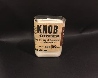 1 Liter vs 750ML Knob Creek Candle Bourbon Whiskey Soy Candle With/WIthout Base. Made To Order