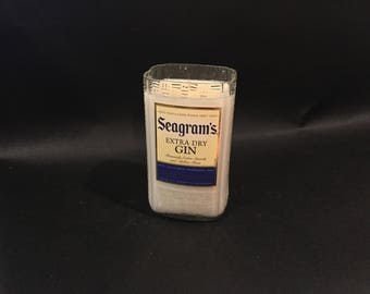 HANDCRAFTED Candle UP-CYCLED Seagram's Gin Bottle Soy Candle. Made To Order !!!!!!!