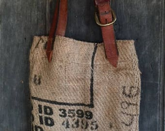 Upcycled Coffee Bean bag and Leather Tote