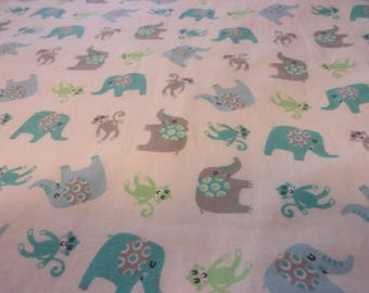 """Flannel Boy Baby Blanket Elephants and Monkeys 31"""" x 38"""""""