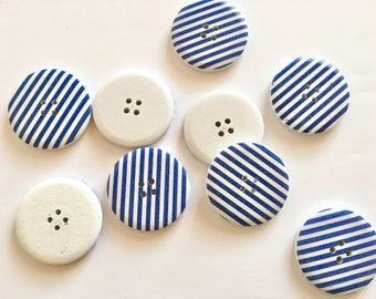 6 huge navy blue striped nautical buttons