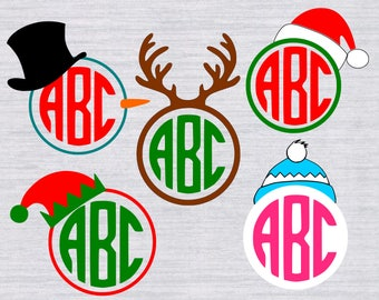 Christmas Monogram Frames SVG, Christmas monogram SVG, winter svg, Christmas svg, svg files for silhouette or cricut, dxf, eps files