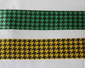 Green and black or yellow and black Houndstooth bow Ribbon choice 3.8 centimeters the meter