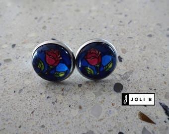 Earrings stainless steel - glass Cabochon 12 mm - Rose - stainless steel earrings
