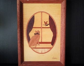 """Hudson River Inlay """"Window Cat"""" Woodwork Art Signed By Jeff Nelson, Marquetry Picture, Handcrafted Wall Hanging Art"""