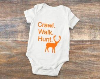 crawl/walk/hunt/onsie/gift/baby/shower/deer/boy/girl/antlers/buck