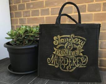 MFM - SSDGM Hand carved and lino printed Large Black Jute Bag