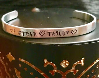 Hand stamped cuff bracelet with names