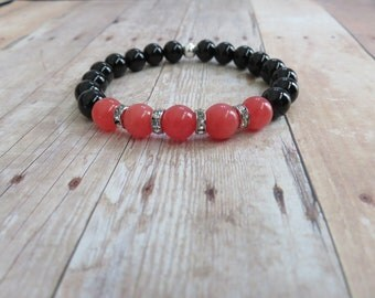 Pink Jade, Black Onyx, Love, Wisdom, Courage Bracelet