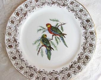Adderley plate Dinner Plate Bird Plate Parrot plate Big Plate Cake plate Sandwich plate Shabby decor Tea party decor Shower gift for mother