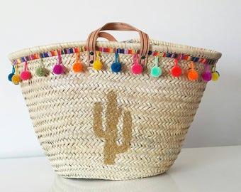 Beach Bohemian cactus basket