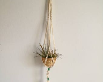 Air Plant Tillandsia Hanging Holder recycled Fabric macrame hanger with basket sustainable Gift Boho Decor hanger with basket air plant