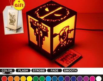Deadpool color led nightlight Color led lamp Wood nightlight Deadpool Housewarming gift Home decor Nightlight box Birthday gift Best gift