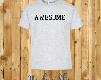 100% Cotton Kids T-shirt With 'AWESOME' Slogan Print Present Gift Birthday Childrens