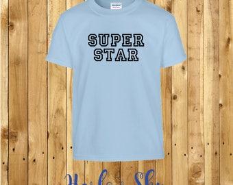 100% Cotton Kids T-shirt With 'SUPERSTAR' Slogan Print Present Gift Birthday Childrens