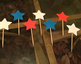 Patriotic red white and blue star cupcake toppers