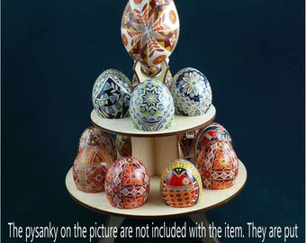 Real plywood pysanka stand for 13 Chicken Easter Egg. Pysanky