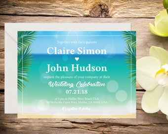 Printed Beach Wedding Invitation, Beach Wedding Invitation, Destination Wedding, Beach Wedding, Tropical Wedding, Printed Wedding invitation