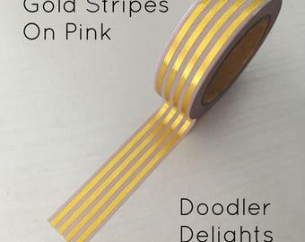 Gold stripe washi tape, pink and gold washi tape, washi tape