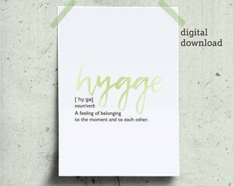 Hygge definition printable, definition word poster download, Hygge wall art, new home housewarming gift, nordic print posters, hygge print