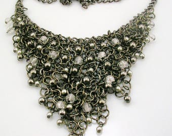 "Chico's Bead & Chain Bib Necklace  18""  3"" ext."
