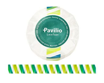 Japanese Pavilio lace tape Barber green / pink 15mm x 10m