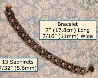 """Spectacular Hard to Find Antique 13 Link Saphiret Bracelet 7"""" Long 7/16"""" Wide 13"""
