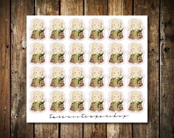 Grocery Shopping - Cute Blonde Girl - Functional Character Stickers