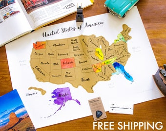 "100% Made in USA - Free Shipping in USA -  Scratch Map Large format - Watercolor - 23.5""x17"" (60x43cm) - With Pick and Gift Sticker"
