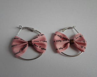 Gift teen, girl, woman, earring hoops, pink bow with paperwork
