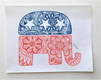 Hand-Drawn Republican Elephant - Logo