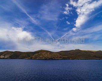Sea photo print on canvas, Greece, chapel, sea, sailing, photographic print, travel photography, giclee, landscape, digital art, island