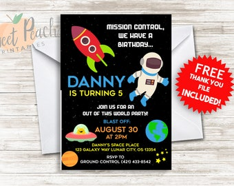 Space Birthday Invite 5x7 Digital Personalized Outer Space Birthday Invitation 160.0