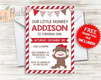 Girl's Sock Monkey Birthday Invite 5x7 Personalized Digital Sock Monkey Girl's Birthday Invitation