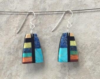 Native American Santo Domingo Pueblo Dangle Earrings, Multi Stone Mosaic Inlay, Blue Turquoise - Rudy & Mary Coriz