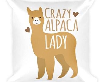 Crazy Alpaca Lady Square Pillow