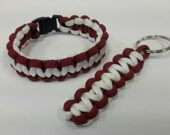 Alabama paracord bracelet and keychain, Bama paracord bracelet and keychain, paracord bracelet, paracord key chain, bracelet, keychain