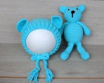 Aqua Blue Newborn Bear Bonnet & Teddy Bear Cuddle Buddy Set