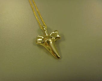 Necklace shark tooth 24 k gold plated silver