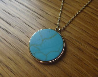 Round gold turquoise necklace