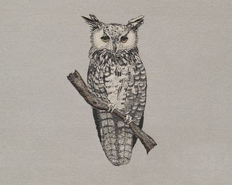 Owl Throw Pillow, light gray background