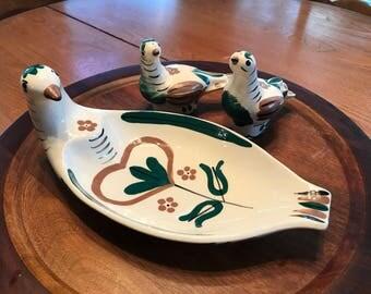 Ditlefink Cleminton Pottery Bread Bowl and Salt/Pepper Shaker Set